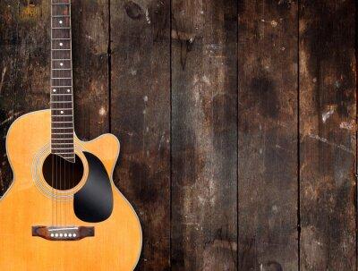 Картина Акустическая гитара на деревенском фоне