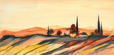 Картина Acrylfarben Gemälde Einer Stark Farbigen Bunten Тоскана Landschaft mit Haus, Bäumen und Zypressen mit fließender Farbe, Farbspritzern und Tropfen mit Textfreiraum