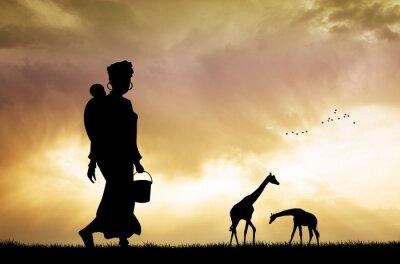 Картина Африканская женщина и сын на закате