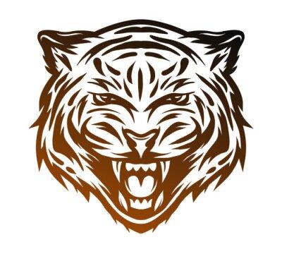 Картина Агрессивный тигр лицо. Line художественный стиль.