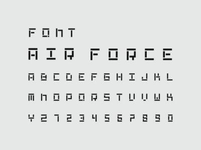 Air Force font. Vector alphabet