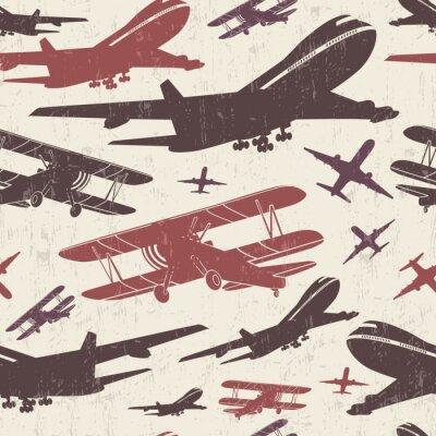 Картина Самолет ретро бесшовный шаблон