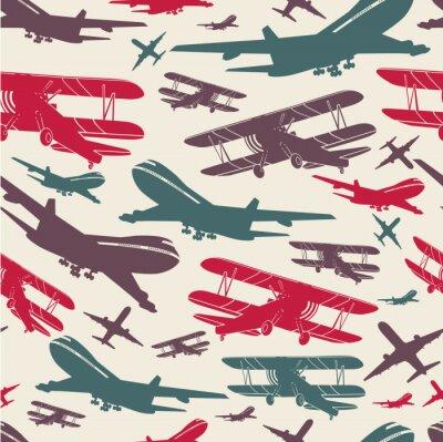 Картина Самолет ретро бесшовные шаблон, старый фон текстурированные для плаката