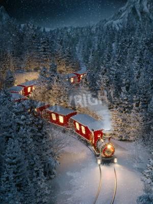 Картина Удивительный милый рождественский поезд проходит через фантастический зимний лес на северном полюсе. Необычные рождественские 3d иллюстрации