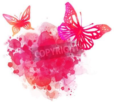 Картина Удивительные акварель фон с бабочкой. Вектор искусства, изолированных на белом