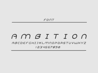 Ambition font. Vector alphabet