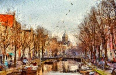Картина Амстердам канал на утренней импрессионистической живописи