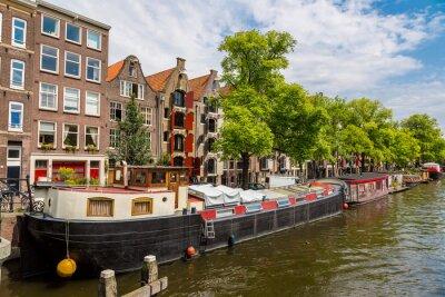 Картина Амстердам каналы и лодки, Голландия, Нидерланды.