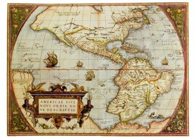 Картина Древняя карта Северной и Южной Америки. Фото из старого воспроизводства