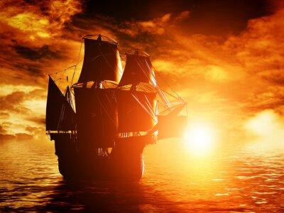 Картина Древний пиратский корабль, плывущий в океане на закате