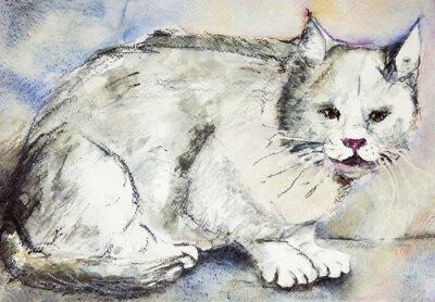 Картина Злой серый кот. Техника прикладывая вблизи краев дает эффект мягкой фокусировки благодаря измененному шероховатости поверхности бумаги.