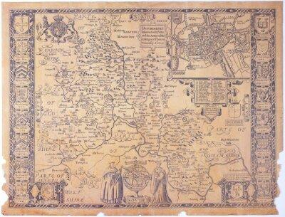 Картина Античная Оксфордшир Карта