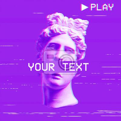 Apollo's plaster head on a purple background. Retro glitch art.