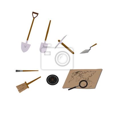 Археология векторные иллюстрации. Археология векторные символы. Археолог, карта, лупа, компас, лопатой, Пика, череп, кисти векторные символы. EPS10 иллюстрации.