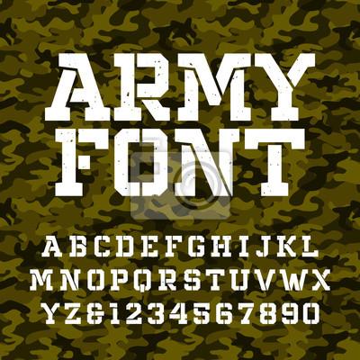 Шрифт алфавита. Введите буквы и цифры на фоне зеленого камуфляжа. Векторный военный шрифт для вашего дизайна.