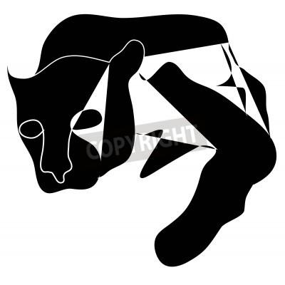 Картина Art cubism black silhouette of black pantera