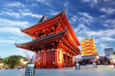 Картина Храм Асакуса с пагодой на ночь, Токио, Япония