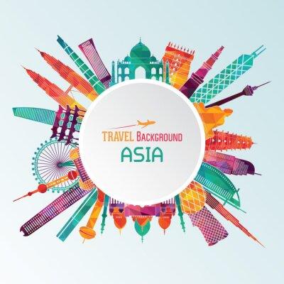 Картина Азия подробно силуэт. Векторная иллюстрация