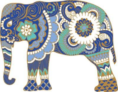 Азиатский слон с узорами