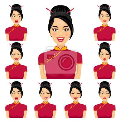 Привлекательная Азии женщина с мимики девяти variors. Вектор мультфильм значок аватара набор на белом фоне.