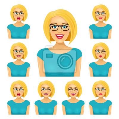 Привлекательная блондинка женщина в очках с девятью различными exppressions лица.