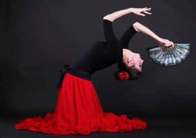 Картина Привлекательный испанский молодая женщина танцует фламенко на черном Backg
