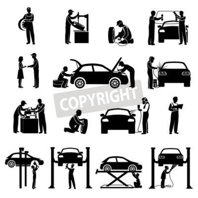 Картина Автоматический сервис иконы черный набор с механикой и автомобилей силуэты изолированных векторных иллюстраций