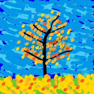 Картина Осенний пейзаж в стиле импрессионизма. Векторная иллюстрация.