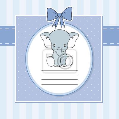 Tarjeta Anuncio Nacimiento Bebe Ниньо. Elefante