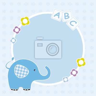 Марко bebé, де цвета Azul, кон ООН Elefante.