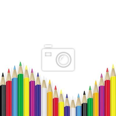Фон с цветными карандашами. Вектор