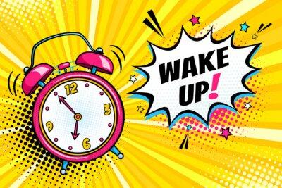 Картина Фон с комическим звонком будильника и выражением речи пузырь с пробуждением текста. Векторные яркие динамические иллюстрации мультфильм в стиле ретро поп-арт на фоне полутонов.
