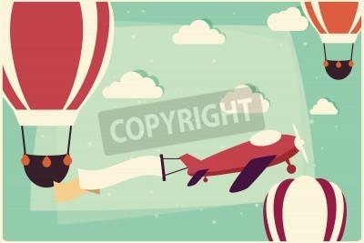 Картина Фон с воздушными шарами и самолет с лентой, векторные иллюстрации
