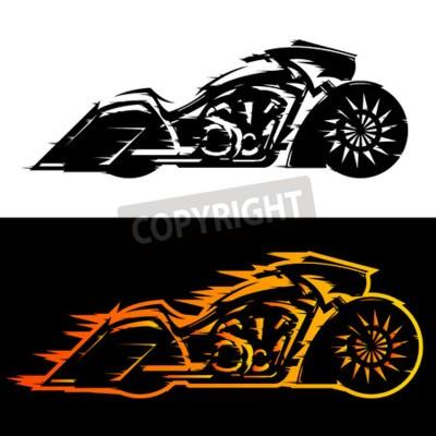 Картина Векторная иллюстрация мотоциклов в стиле Баггера, мотоцикл Baggers, покрытый пламенем