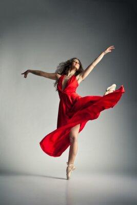 Картина Балерина в красном платье на сером
