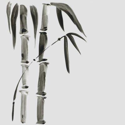 Картина Бамбук в японском стиле. Традиционная красивая акварель рисованной иллюстрации