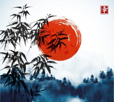 Картина Бамбуковые деревья, лес в тумане и большое красное солнце, рисованное чернилами. Традиционная восточная окраска чернил суми-э, u-sin, go-hua. Содержит иероглиф - счастье.