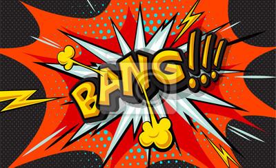 Bang!  Pop art cloud bubble. Wow funny speech bubble. Trendy Colorful retro vintage background in pop art retro comic style. Vector Illustration easy editable for design. Explosion comic cartoon