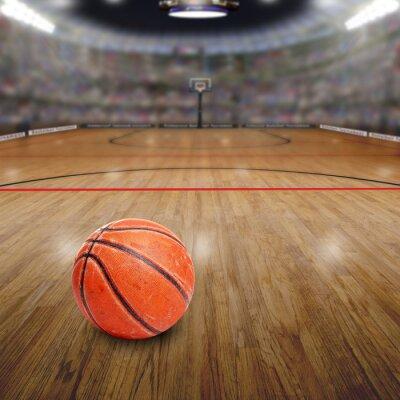 Картина Баскетбол Арена с мячом на корте и скопировать пространстве. Вынесено в Photoshop.
