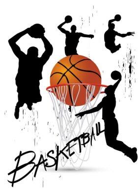 Картина баскетболист в позе прыгает на белом