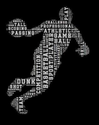 Картина Баскетболист слово облако, баскетбол типографика фон