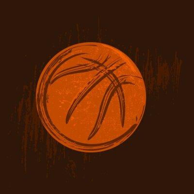 Картина баскетбол символ рисунок с черными штрихами темном фоне