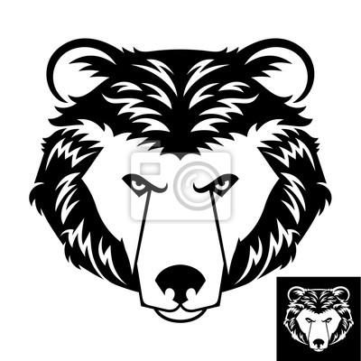 Медведь голова логотип в черно-белом. Инверсия версия включены.