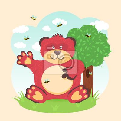 Медведь сидит под деревом