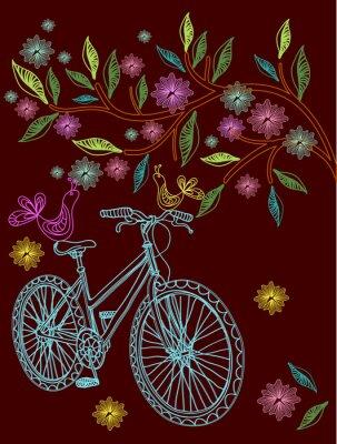 Красивый фон с дерева и велосипеде