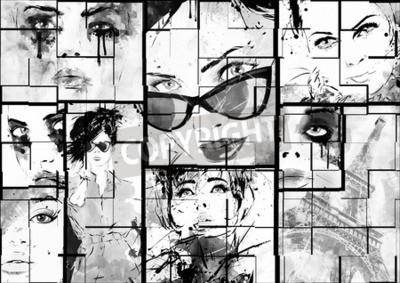 Картина Красивый коллаж, лица женщин. Ручная роспись моды