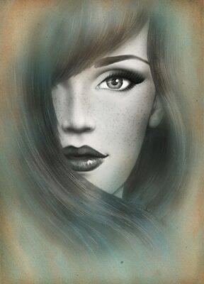 Картина Красивое лицо. портрет женщины. абстрактный акварельный фон .fashion
