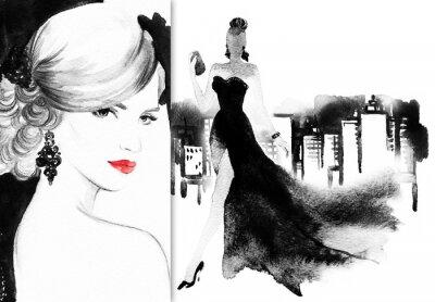Картина Красивое лицо. женщина с элегантным платьем. абстрактный акварельный фон .fashion