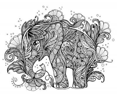 Картина Красивая ручная роспись слон с цветочным орнаментом