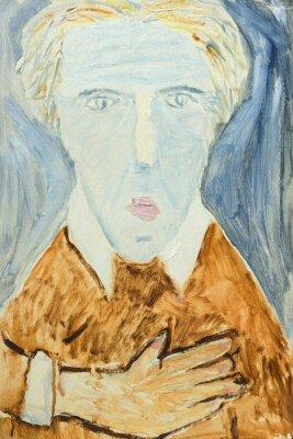 Картина Красивые оригинальные картины маслом портрета человека в оранжевых и серых цветов на холсте